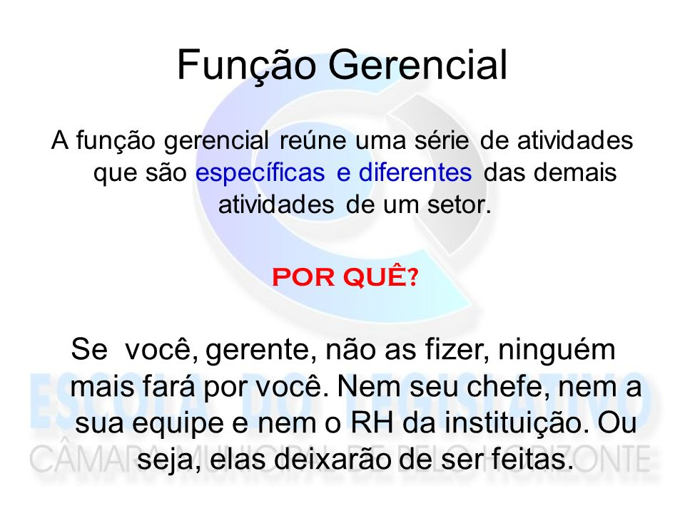 Função Gerencial A função gerencial reúne uma série de atividades que são específicas e diferentes das demais atividades de um setor.