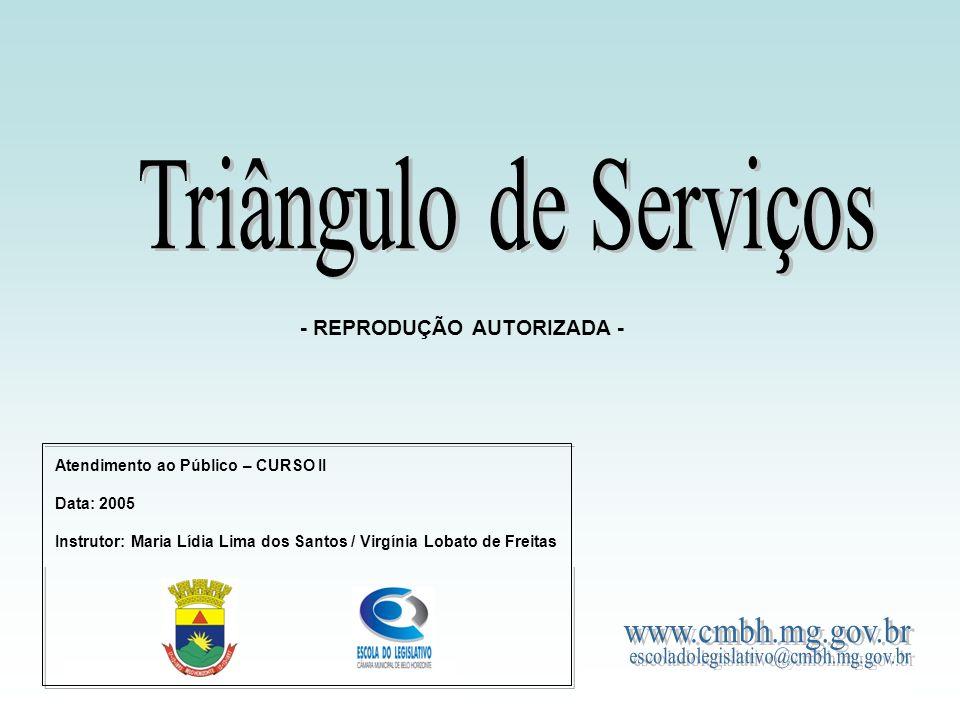 Triângulo de Serviços - REPRODUÇÃO AUTORIZADA - www.cmbh.mg.gov.br