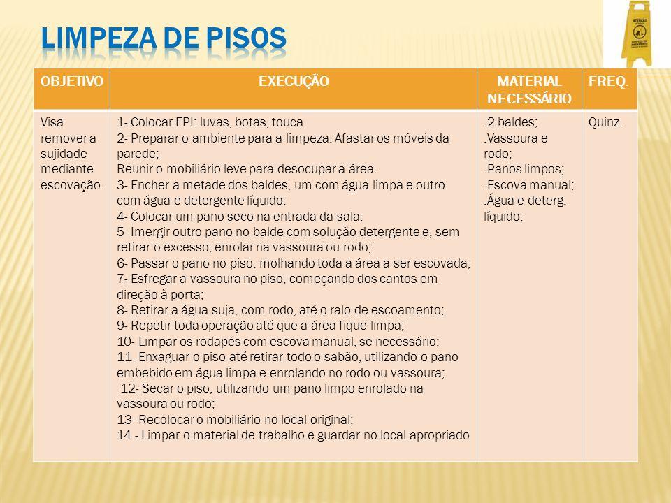 LIMPEZA DE PISOS OBJETIVO EXECUÇÃO MATERIAL NECESSÁRIO FREQ.