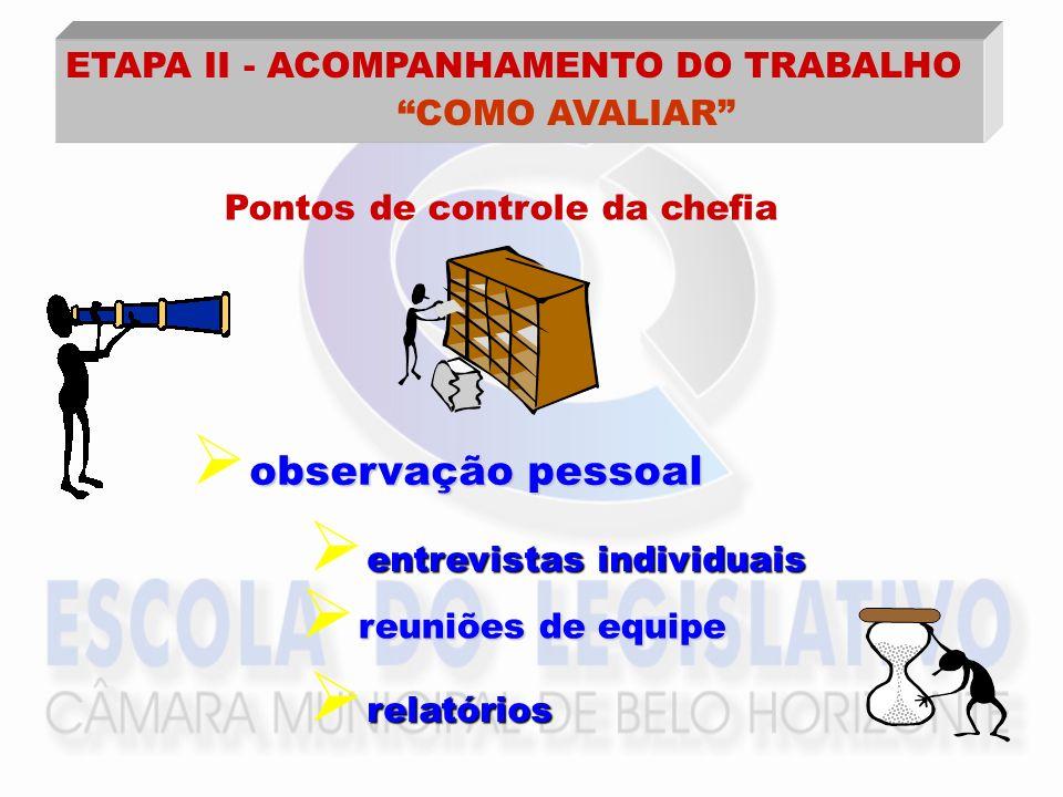 COMO AVALIAR ETAPA II - ACOMPANHAMENTO DO TRABALHO