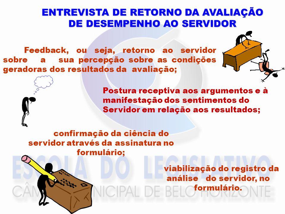 ENTREVISTA DE RETORNO DA AVALIAÇÃO DE DESEMPENHO AO SERVIDOR