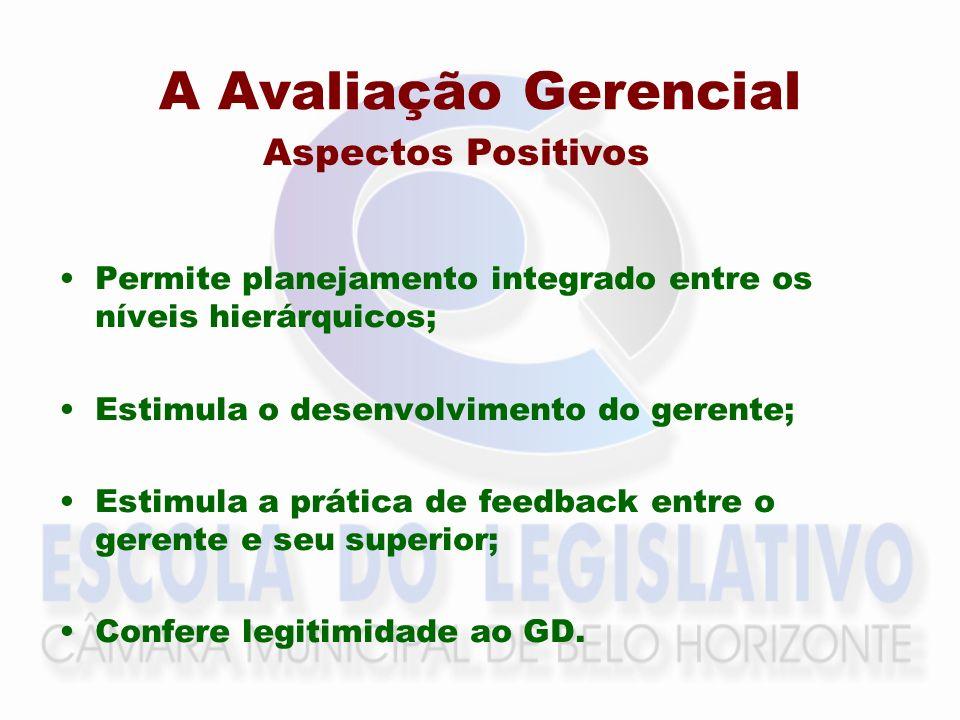 A Avaliação Gerencial Aspectos Positivos