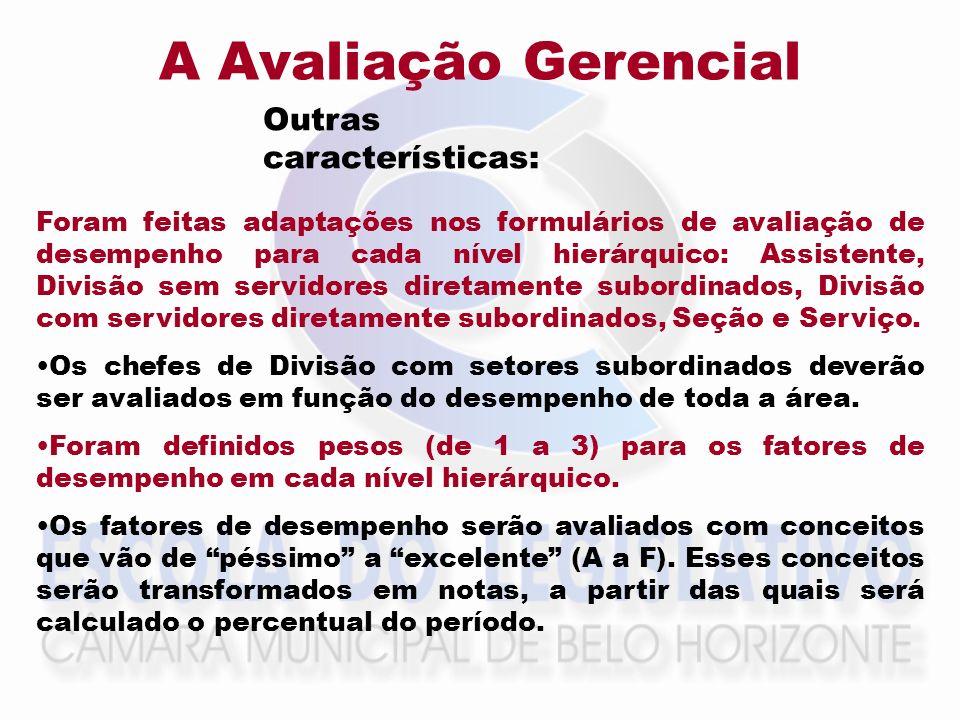 A Avaliação Gerencial Outras características: