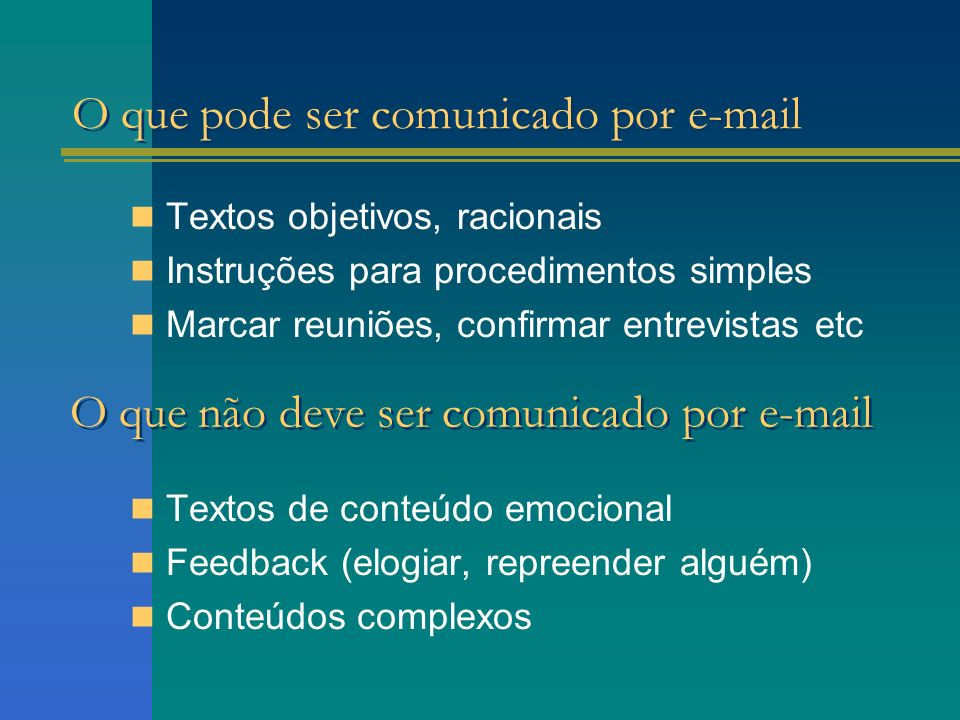 O que pode ser comunicado por e-mail