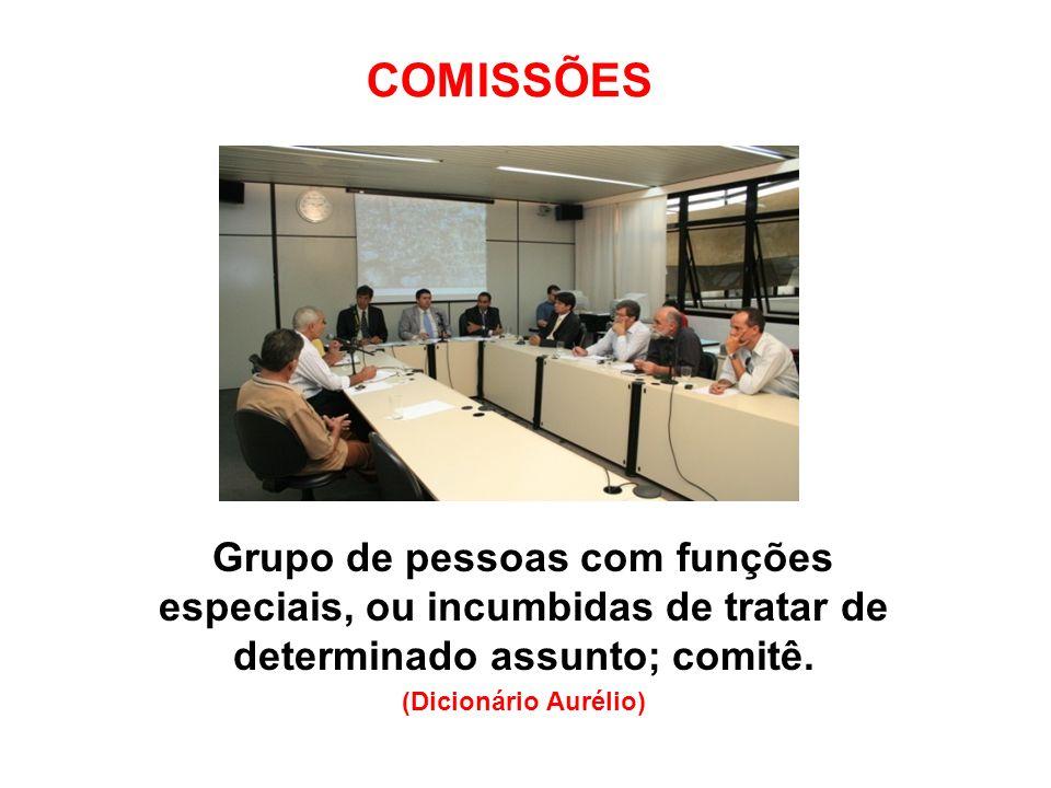 COMISSÕES Grupo de pessoas com funções especiais, ou incumbidas de tratar de determinado assunto; comitê.