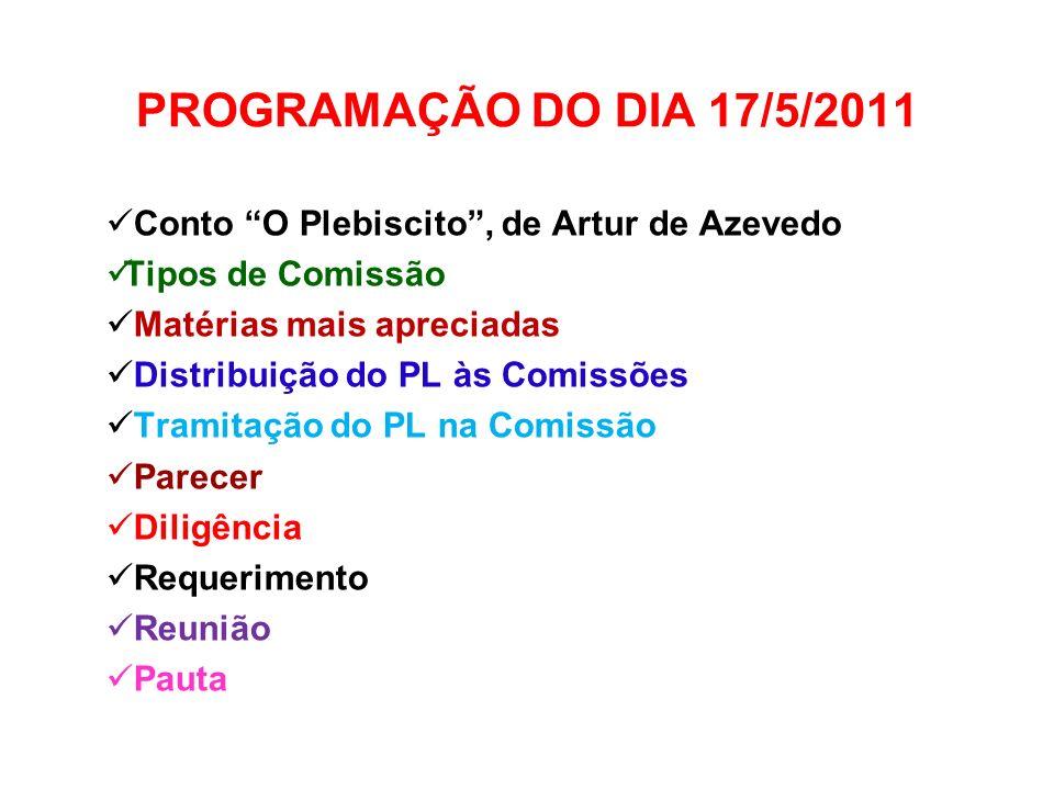 PROGRAMAÇÃO DO DIA 17/5/2011 Conto O Plebiscito , de Artur de Azevedo