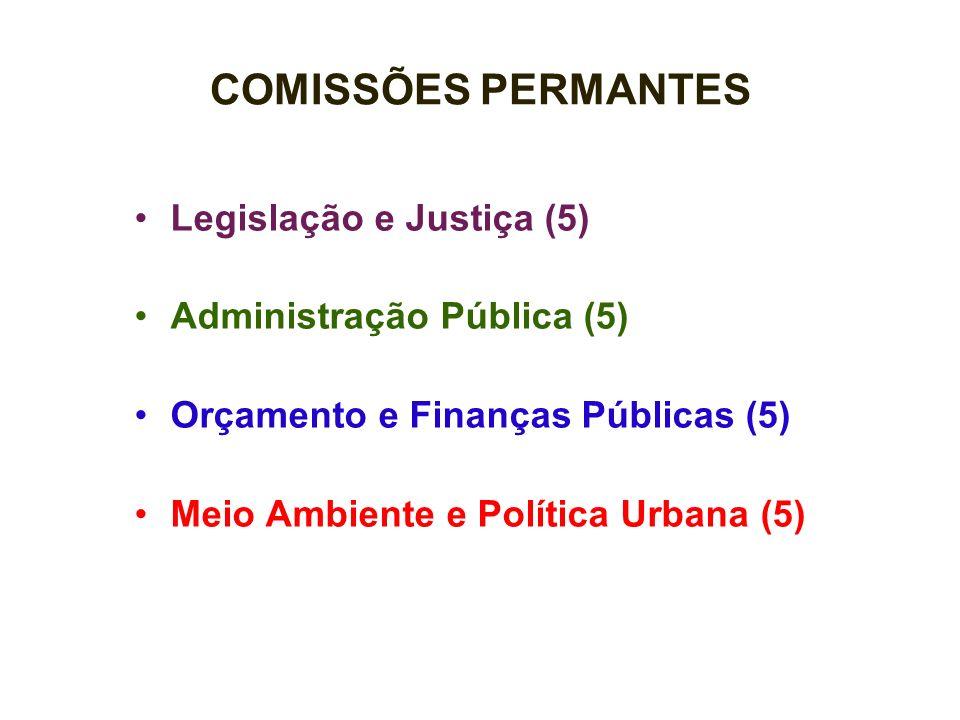 COMISSÕES PERMANTES Legislação e Justiça (5) Administração Pública (5)