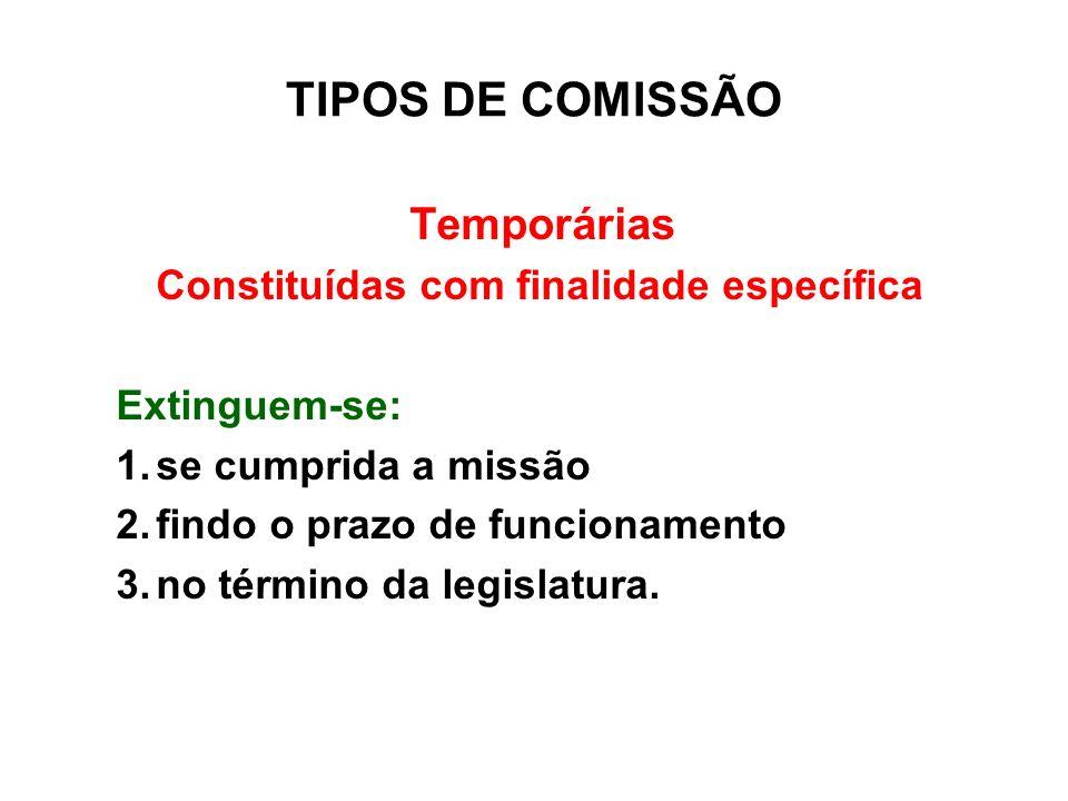 TIPOS DE COMISSÃO Temporárias Constituídas com finalidade específica