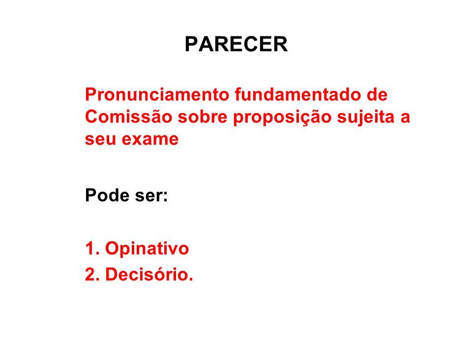 PARECER Pronunciamento fundamentado de Comissão sobre proposição sujeita a seu exame. Pode ser: Opinativo.
