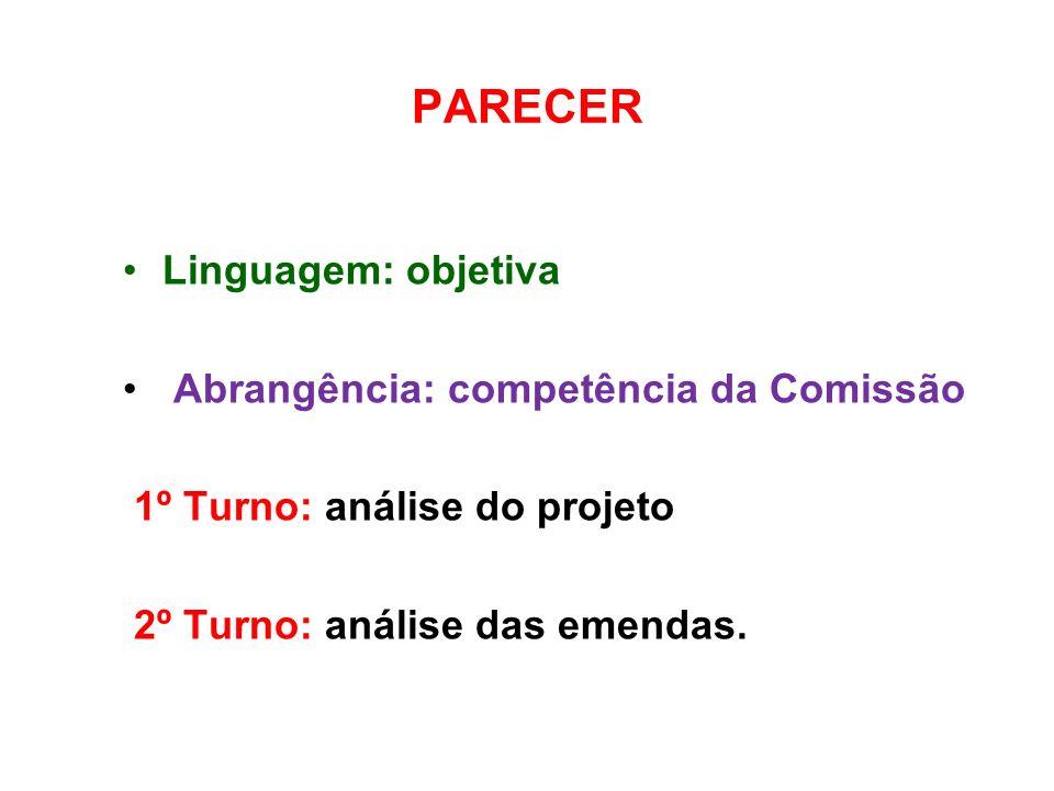 PARECER Linguagem: objetiva Abrangência: competência da Comissão