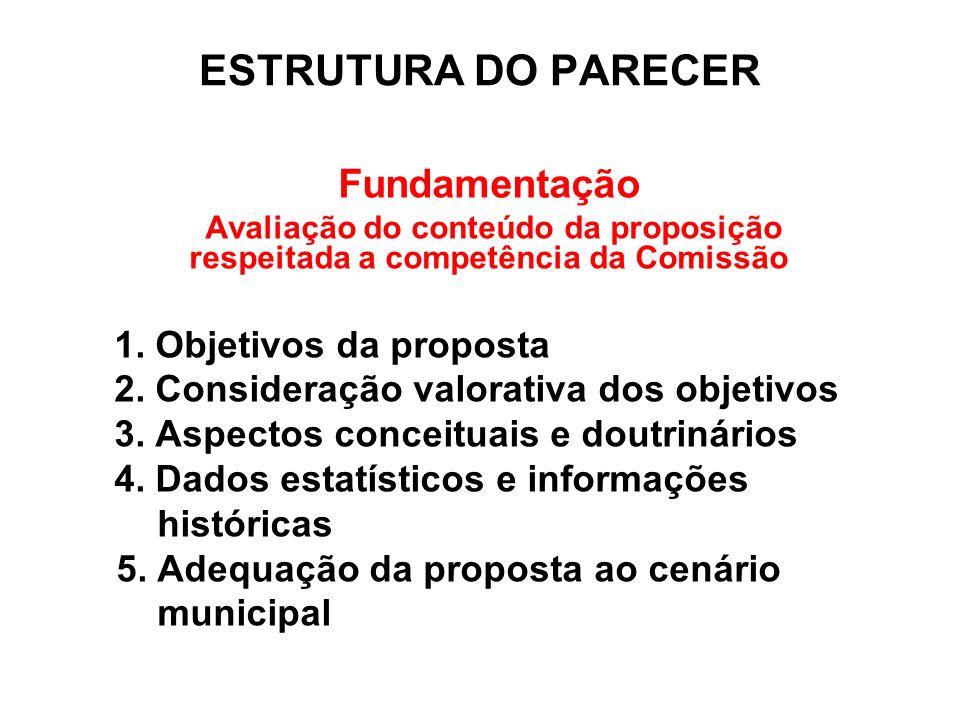 ESTRUTURA DO PARECER Fundamentação Objetivos da proposta