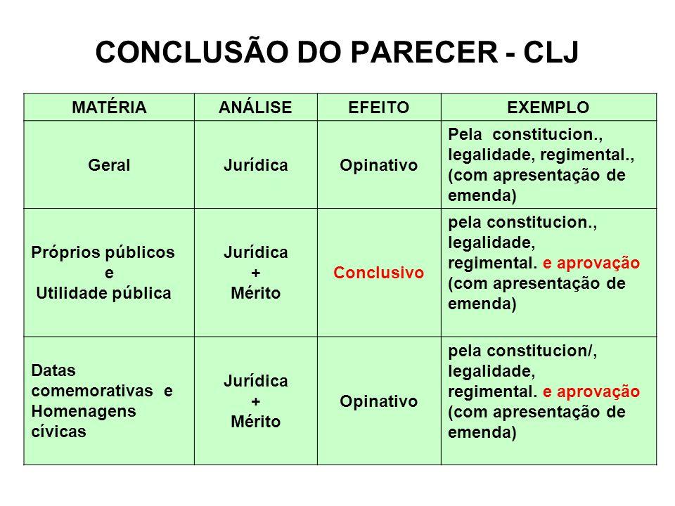 CONCLUSÃO DO PARECER - CLJ