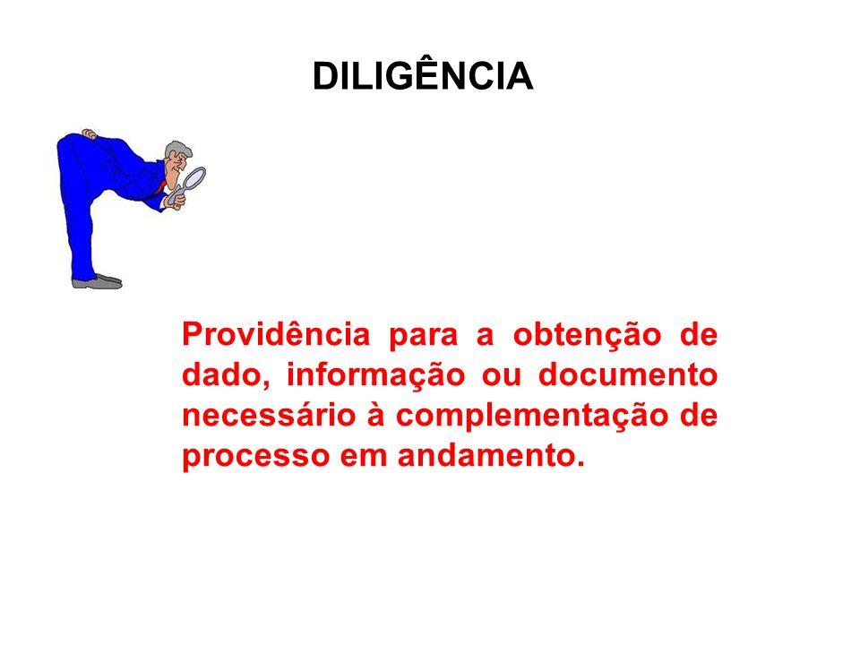 DILIGÊNCIA Providência para a obtenção de dado, informação ou documento necessário à complementação de processo em andamento.