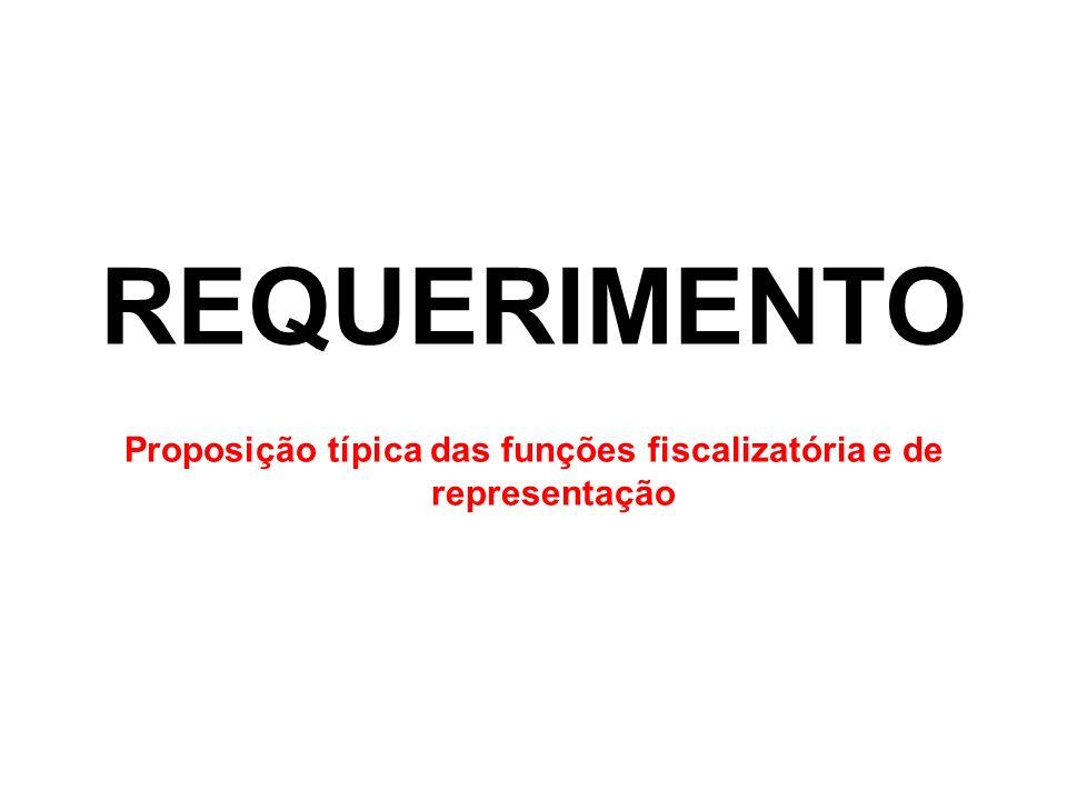 Proposição típica das funções fiscalizatória e de representação