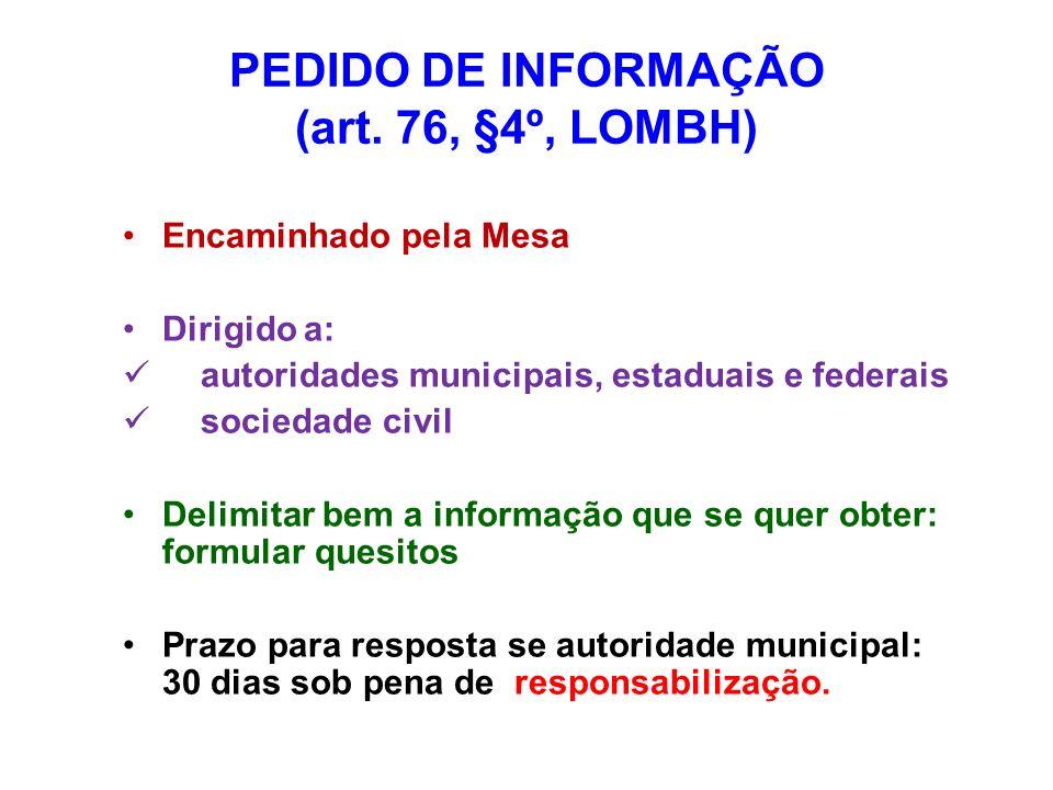 PEDIDO DE INFORMAÇÃO (art. 76, §4º, LOMBH)