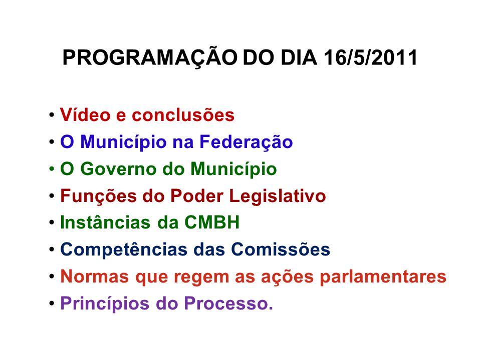 PROGRAMAÇÃO DO DIA 16/5/2011 Vídeo e conclusões