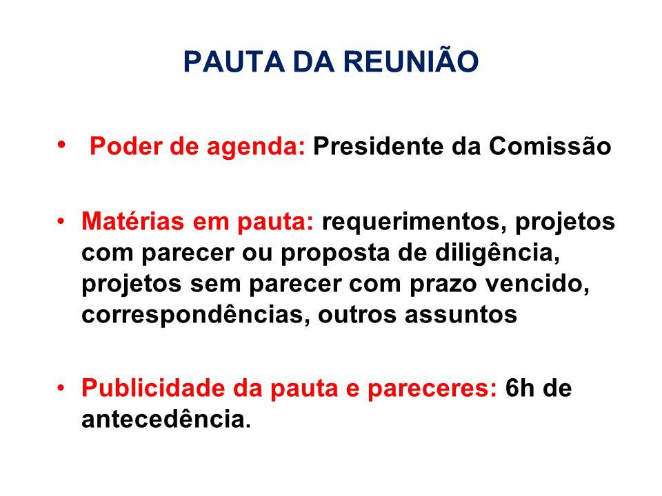 Poder de agenda: Presidente da Comissão