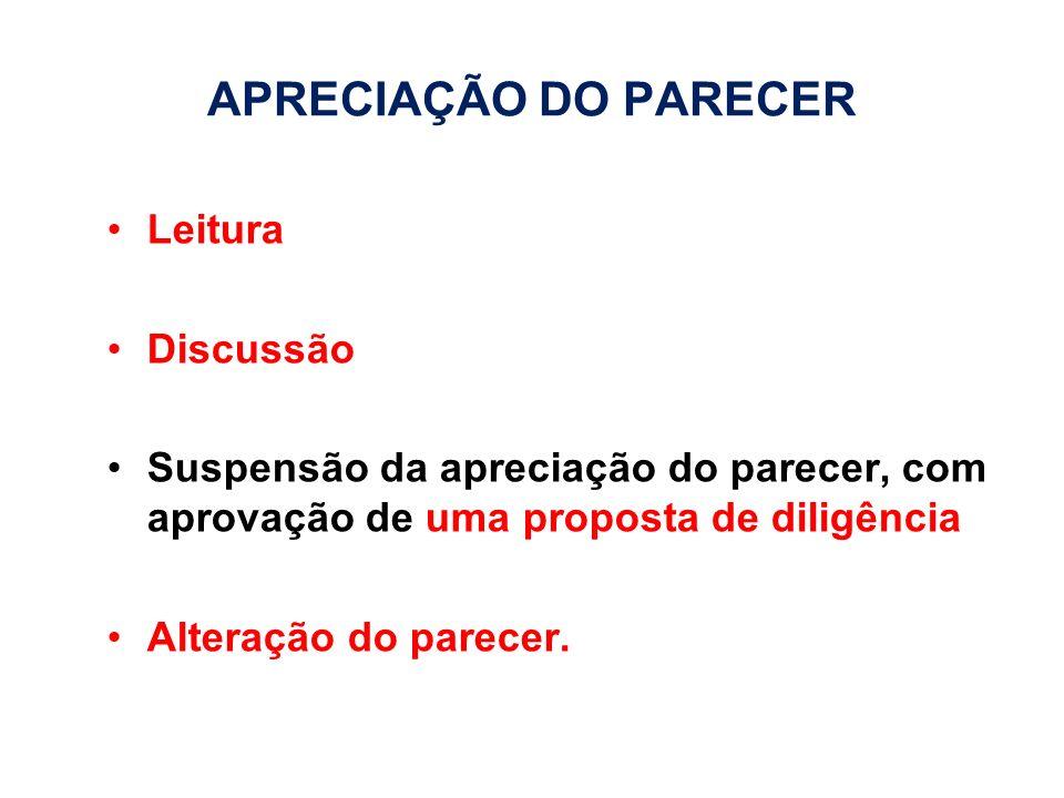 APRECIAÇÃO DO PARECER Leitura Discussão