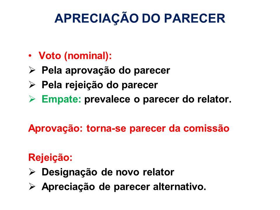 APRECIAÇÃO DO PARECER Voto (nominal): Pela aprovação do parecer