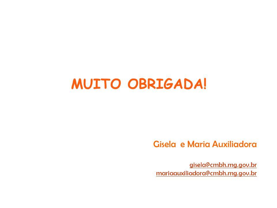 MUITO OBRIGADA! Gisela e Maria Auxiliadora gisela@cmbh.mg.gov.br