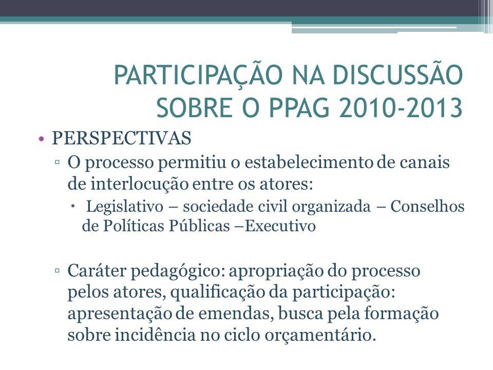 PARTICIPAÇÃO NA DISCUSSÃO SOBRE O PPAG 2010-2013