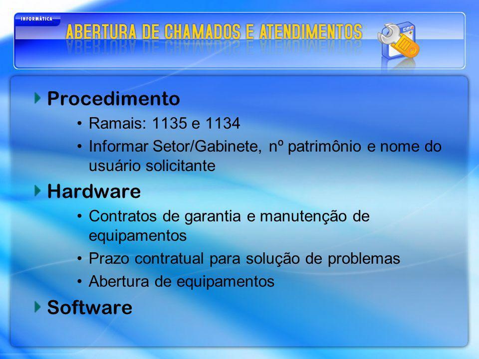 Procedimento Hardware Software Ramais: 1135 e 1134