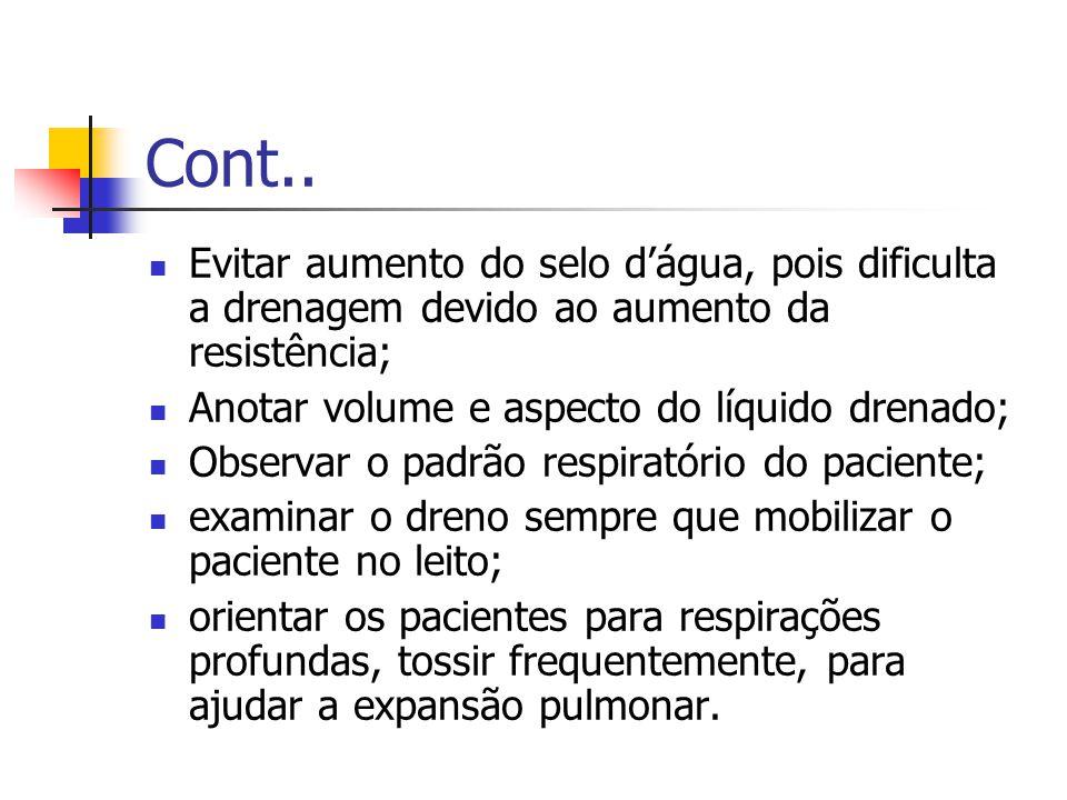 Cont.. Evitar aumento do selo d'água, pois dificulta a drenagem devido ao aumento da resistência; Anotar volume e aspecto do líquido drenado;