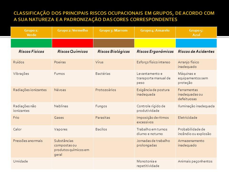 CLASSIFICAÇÃO DOS PRINCIPAIS RISCOS OCUPACIONAIS EM GRUPOS, DE ACORDO COM A SUA NATUREZA E A PADRONIZAÇÃO DAS CORES CORRESPONDENTES