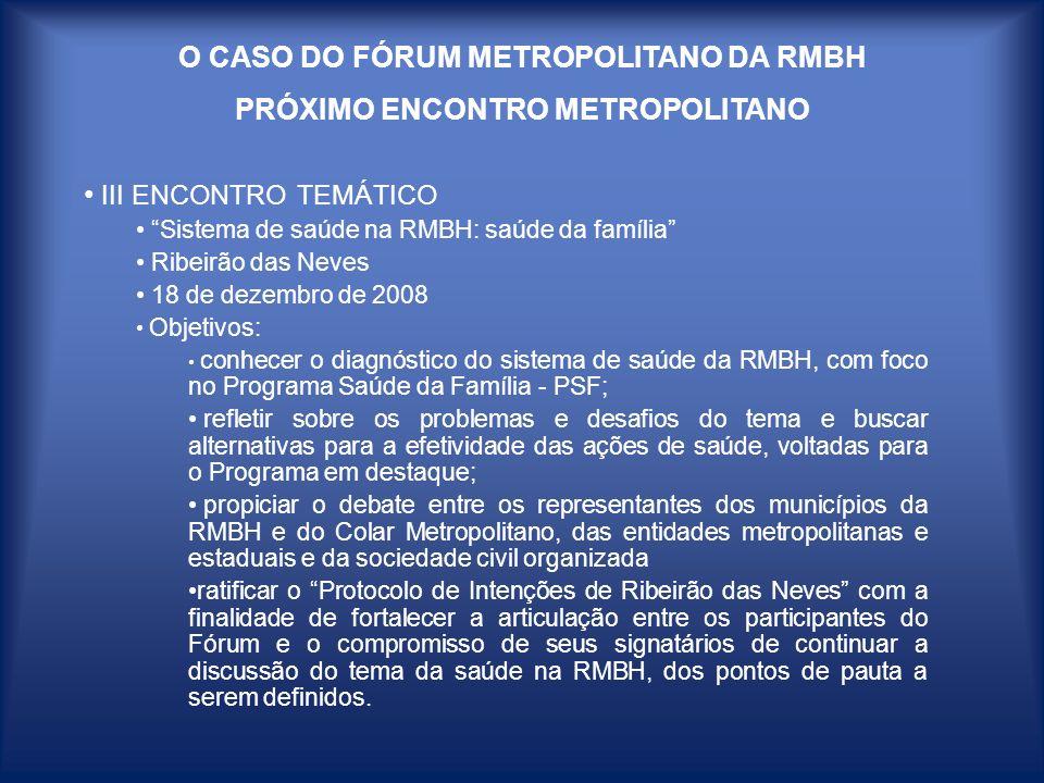 O CASO DO FÓRUM METROPOLITANO DA RMBH PRÓXIMO ENCONTRO METROPOLITANO