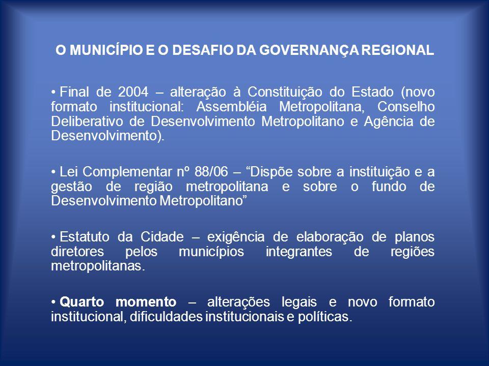 O MUNICÍPIO E O DESAFIO DA GOVERNANÇA REGIONAL