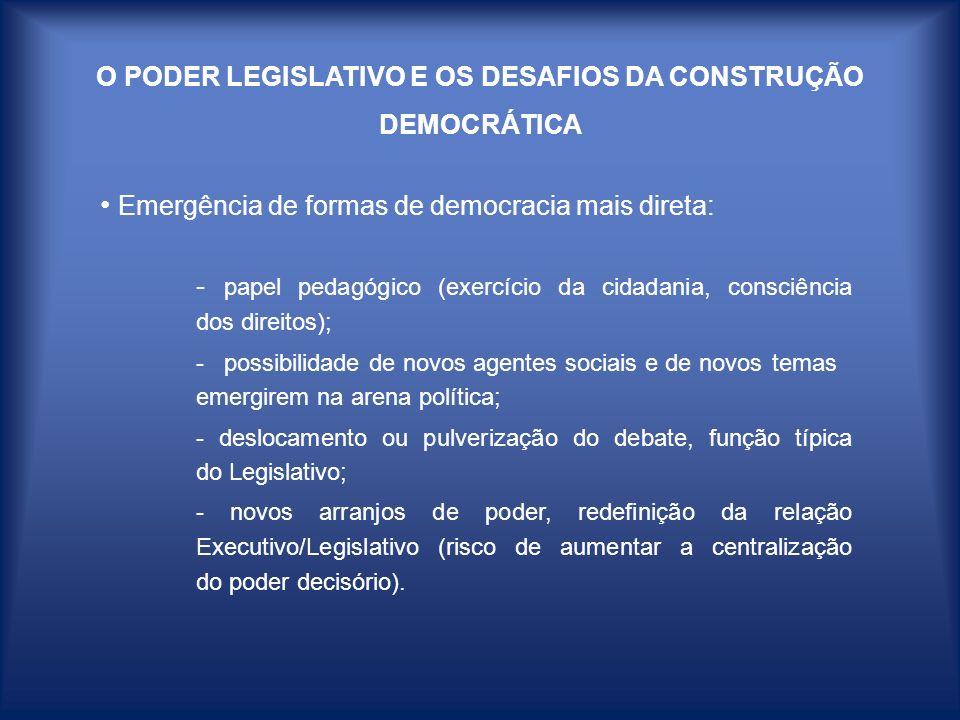 O PODER LEGISLATIVO E OS DESAFIOS DA CONSTRUÇÃO DEMOCRÁTICA