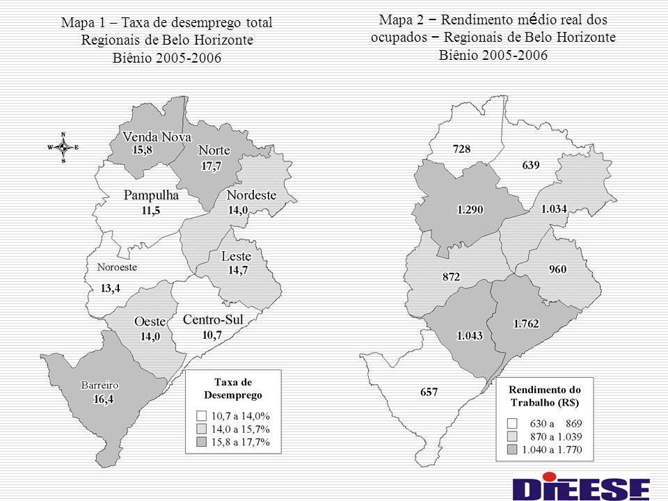 Mapa 1 – Taxa de desemprego total Regionais de Belo Horizonte