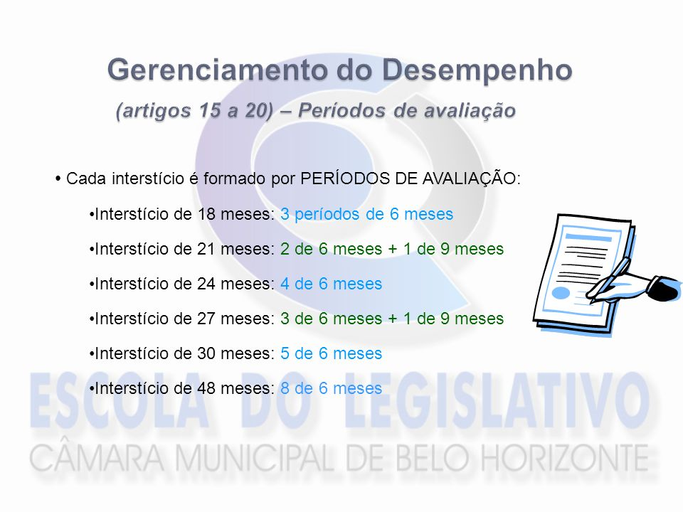 Gerenciamento do Desempenho (artigos 15 a 20) – Períodos de avaliação