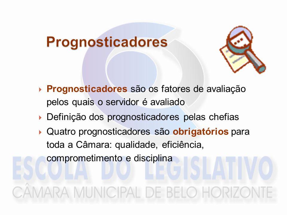 Prognosticadores Prognosticadores são os fatores de avaliação pelos quais o servidor é avaliado. Definição dos prognosticadores pelas chefias.