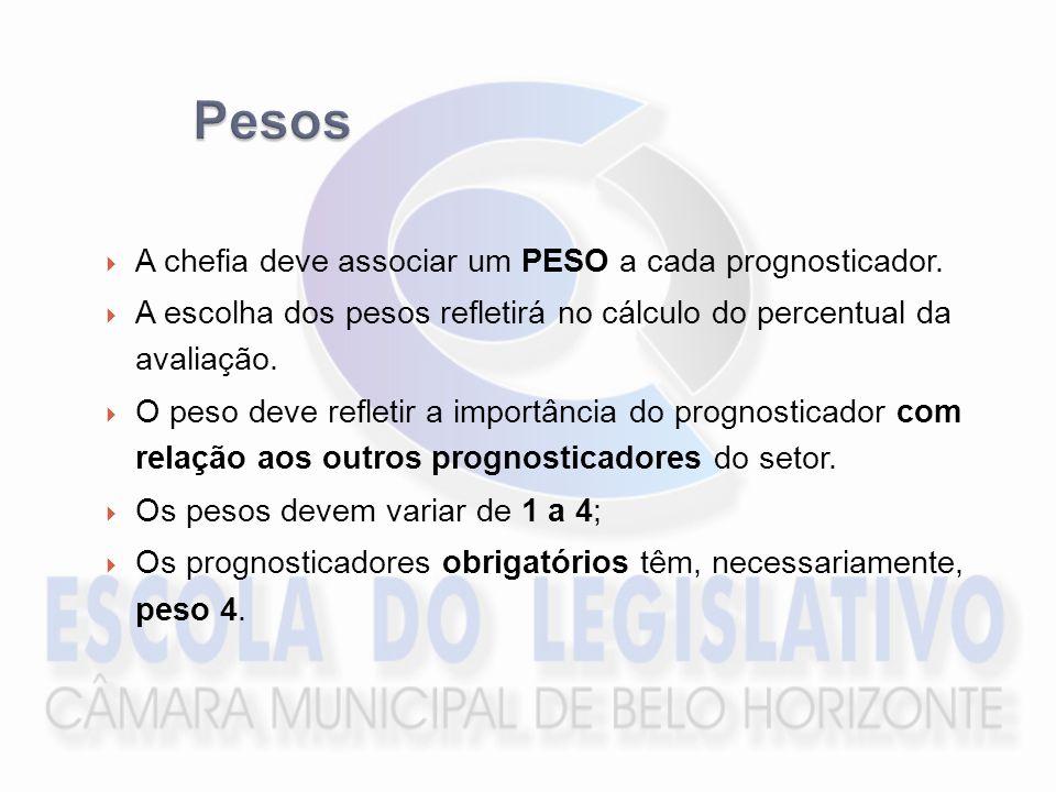 Pesos A chefia deve associar um PESO a cada prognosticador.