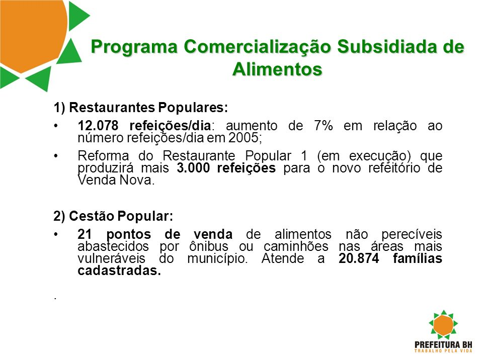 Programa Comercialização Subsidiada de Alimentos