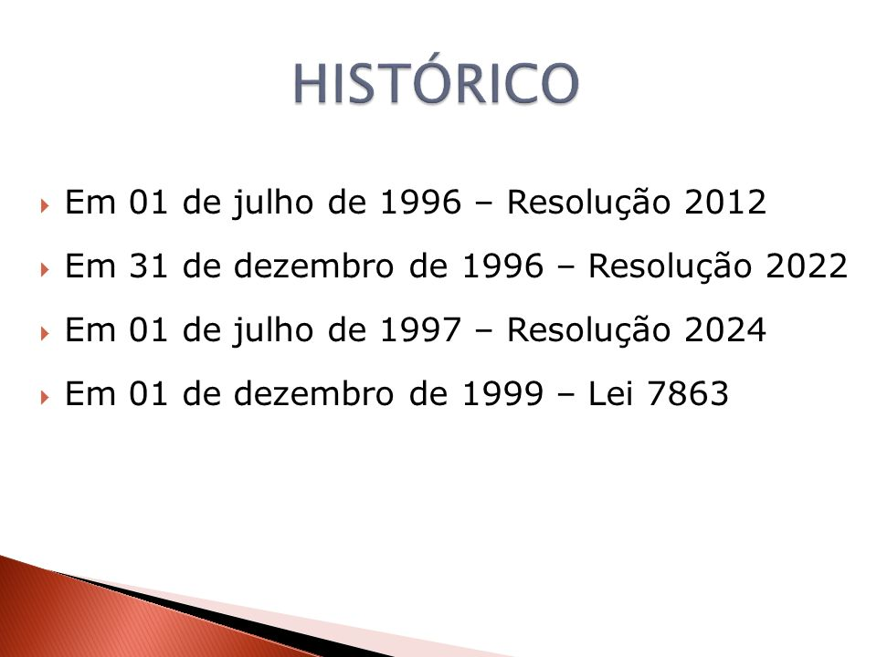 HISTÓRICO Em 01 de julho de 1996 – Resolução 2012
