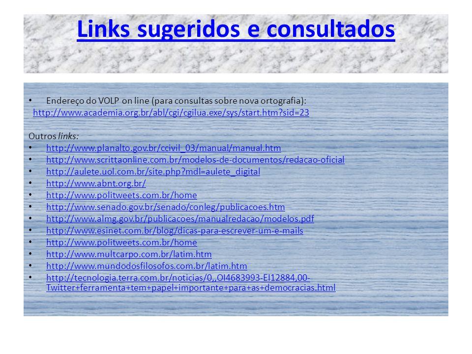 Links sugeridos e consultados
