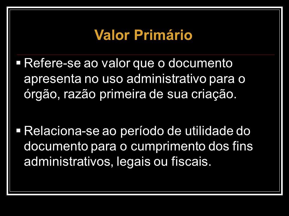 Valor Primário Refere-se ao valor que o documento apresenta no uso administrativo para o órgão, razão primeira de sua criação.