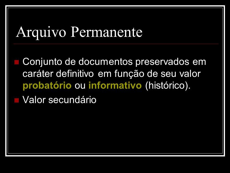 Arquivo Permanente Conjunto de documentos preservados em caráter definitivo em função de seu valor probatório ou informativo (histórico).