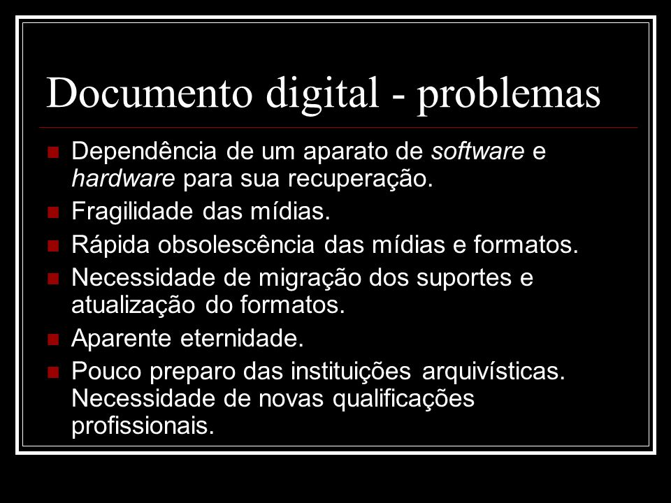 Documento digital - problemas