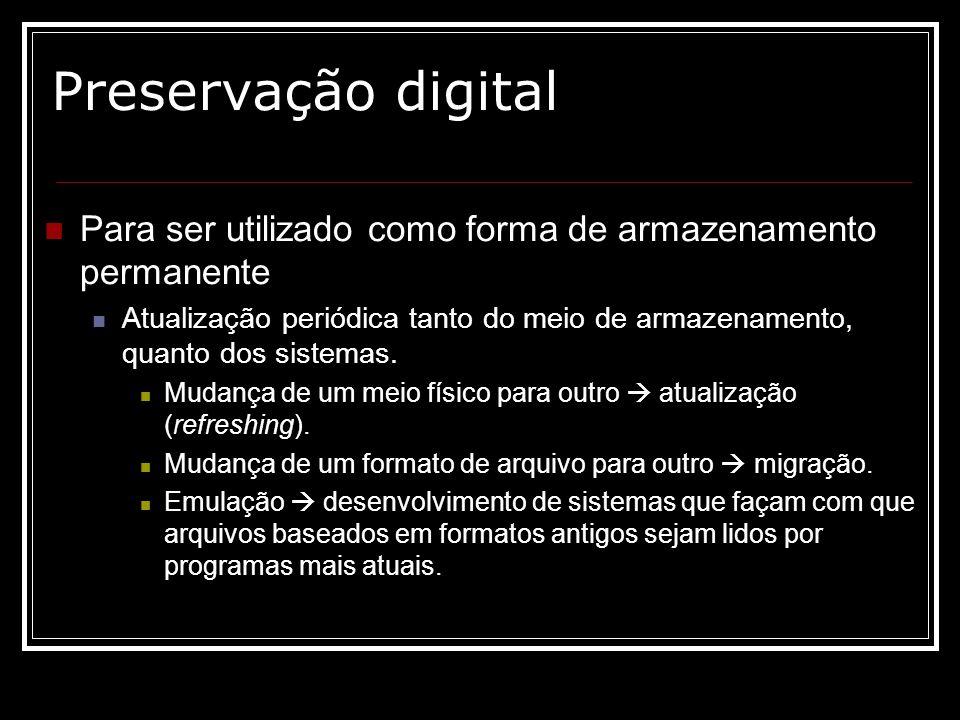 Preservação digital Para ser utilizado como forma de armazenamento permanente.