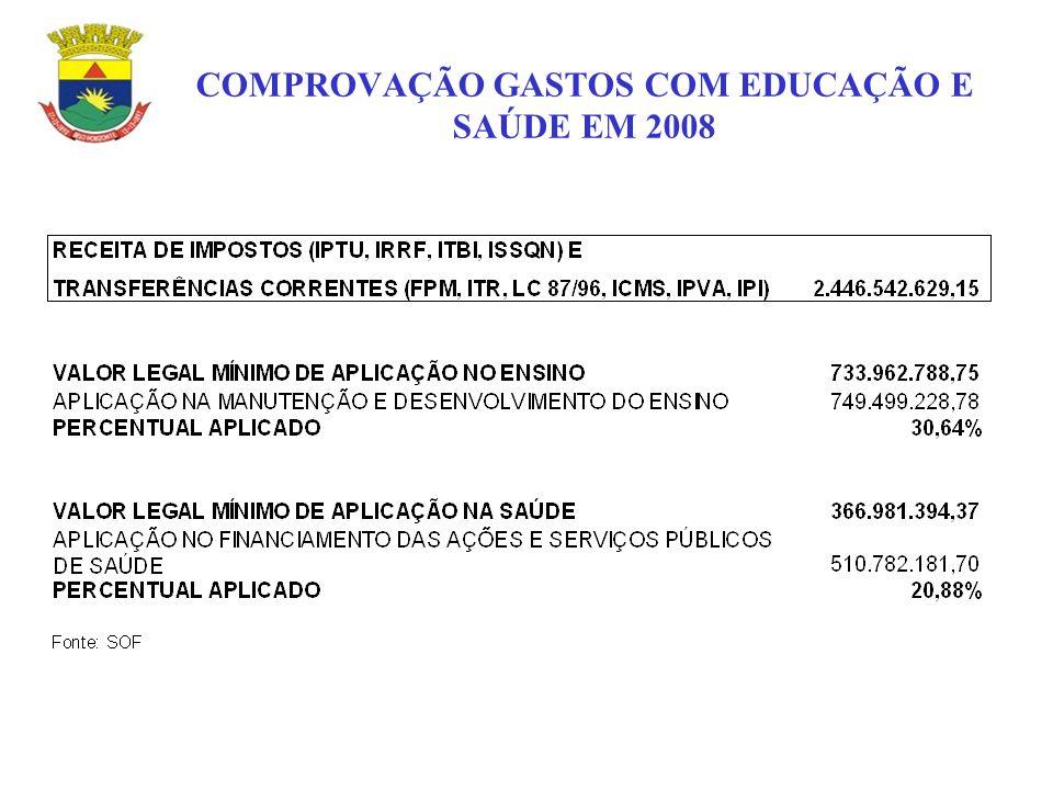 COMPROVAÇÃO GASTOS COM EDUCAÇÃO E SAÚDE EM 2008