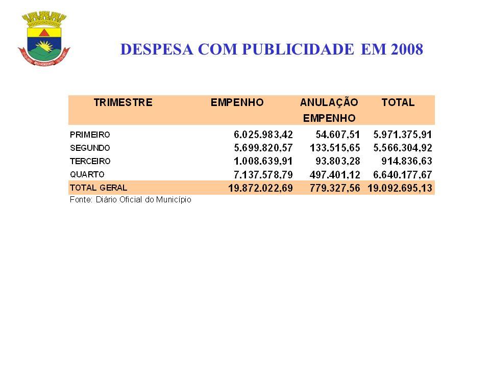 DESPESA COM PUBLICIDADE EM 2008