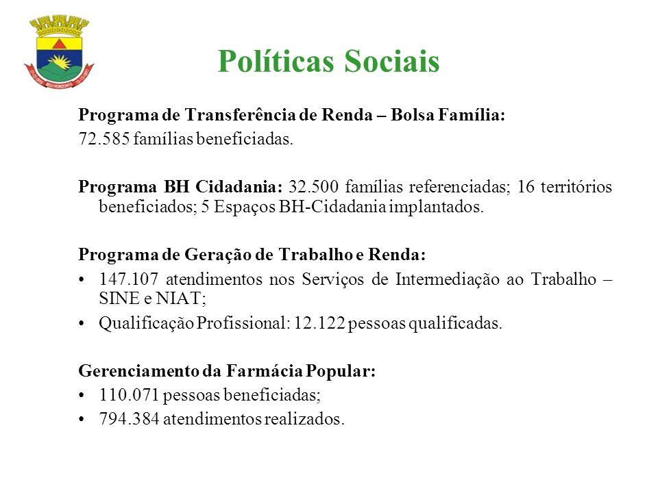Políticas Sociais Programa de Transferência de Renda – Bolsa Família: