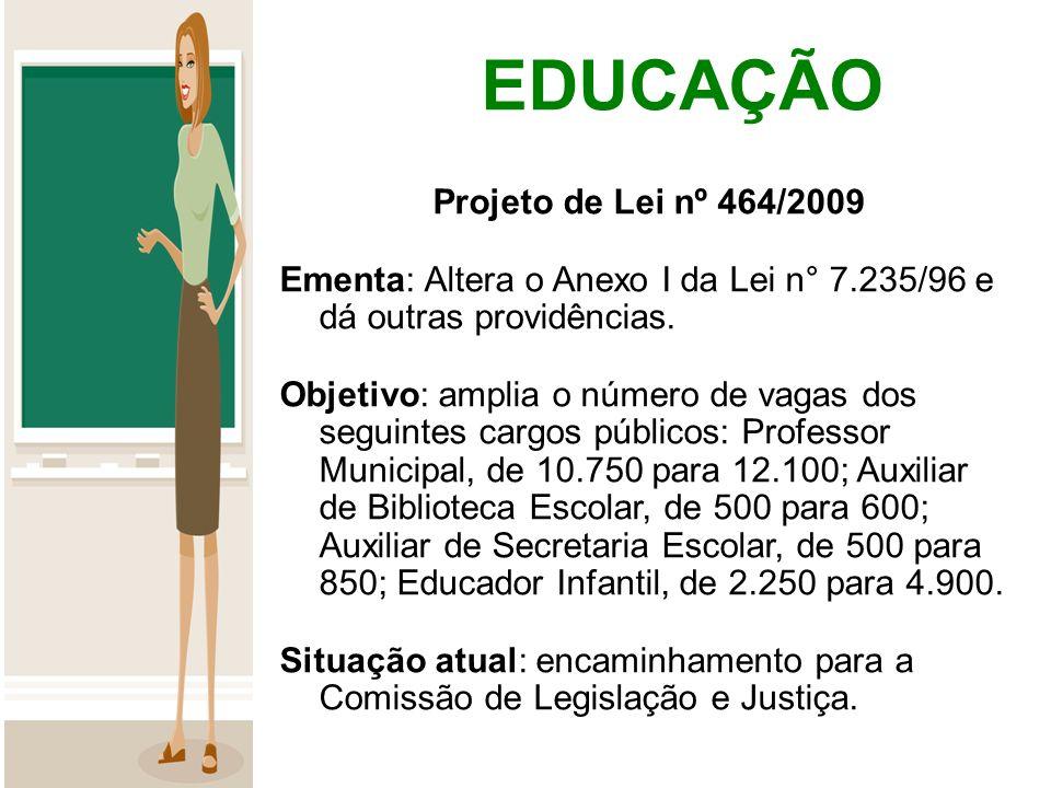 EDUCAÇÃO Projeto de Lei nº 464/2009