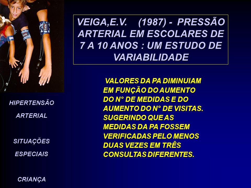 VEIGA,E.V. (1987) - PRESSÃO ARTERIAL EM ESCOLARES DE 7 A 10 ANOS : UM ESTUDO DE VARIABILIDADE