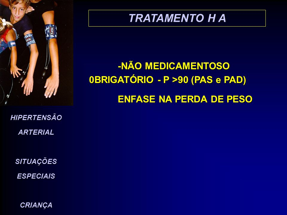 TRATAMENTO H A -NÃO MEDICAMENTOSO 0BRIGATÓRIO - P >90 (PAS e PAD)