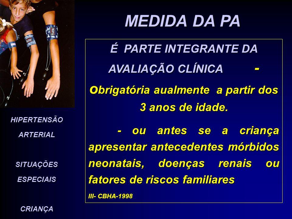 MEDIDA DA PA É PARTE INTEGRANTE DA AVALIAÇÃO CLÍNICA - obrigatória aualmente a partir dos 3 anos de idade.
