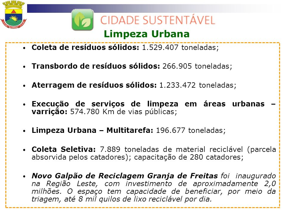 Limpeza Urbana Coleta de resíduos sólidos: 1.529.407 toneladas;